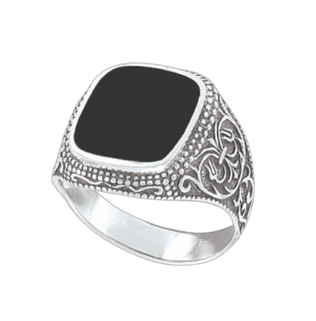 Herrenring  - 925er Sterling Silber mit Onyx