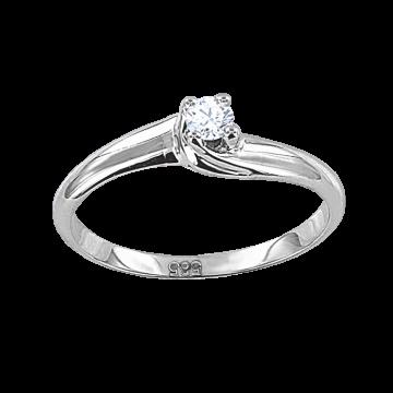 Женское Кольцо из Белого Золота 585 с Бриллиантом
