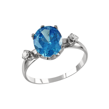 Кольцо из белого золота с бриллиантами и голубым топазом