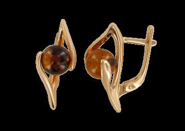 Ohrringe aus Silber 925° Rotgold vergoldet mit Bernstein