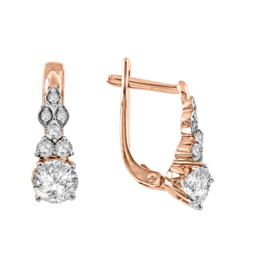 Ohrringe aus Rotgold 585° mit Swarovski Kristall, Zirkonia