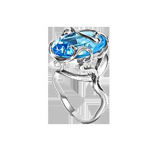 Damen-ring aus 925er Silber mit blau Topas HTS