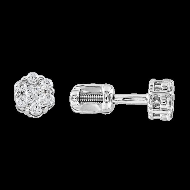 Weißgold 585° Ohrstecker mit Zirkonia, Swarovski Kristall