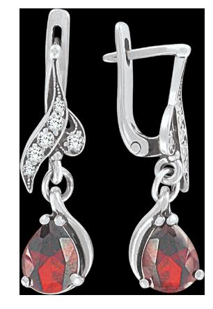 Ohrhänger aus 925er Sterling Silber mit Granat, Zirkonia