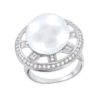 Damen-ring aus 925er Silber mit Perle, Zirkonia