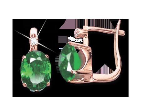 Genieße den reduzierten Preis attraktive Designs heißer verkauf authentisch Ohrringe aus Rotgold 585° mit Smaragd HTS., Zirkonia ...