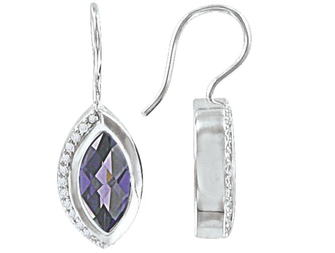 Ohrhaken aus 925er Sterling Silber mit Amethyst, Zirkonia 6ef1599737