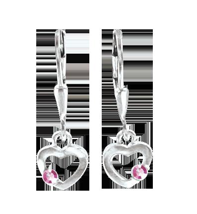 Kinder Ohrhänger aus 925er Sterling Silber mit Pink Zirkonia 1664628ce8