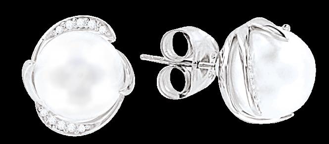 Ohrstecker aus 925er Sterling Silber mit Perlen, Zirkonia