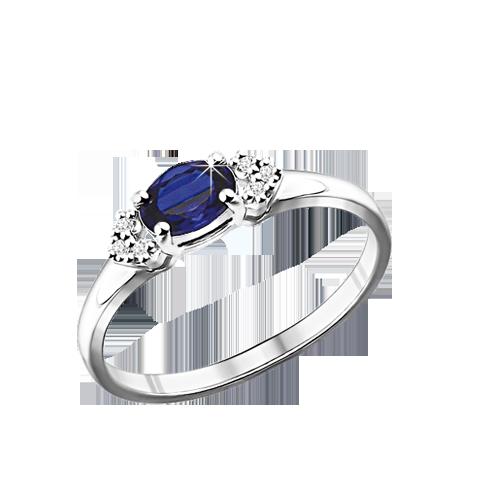 Damen-ring aus 925er Silber mit Zirkonia, Saphir HTS
