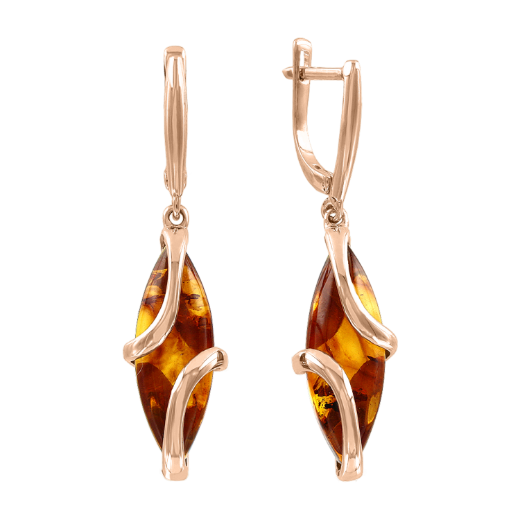 Earrings in red gold of 585 assay value with amber