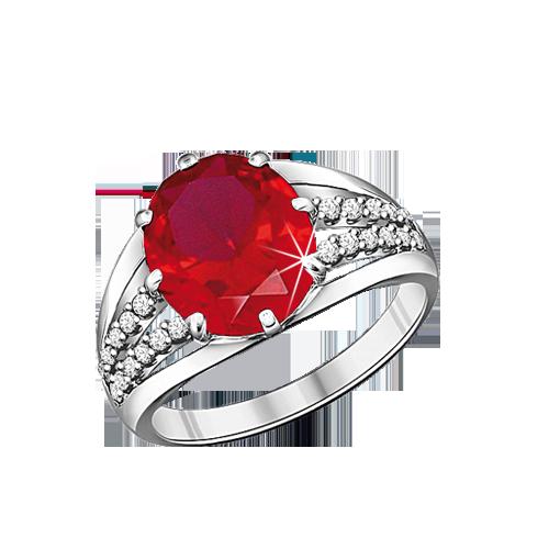 Damen-ring aus 925er Silber mit Zirkonia und Rubin HTS
