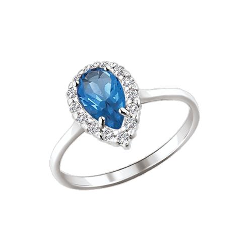 Damen-ring aus 925er Silber mit Zirkonia und  und London Blau Topas