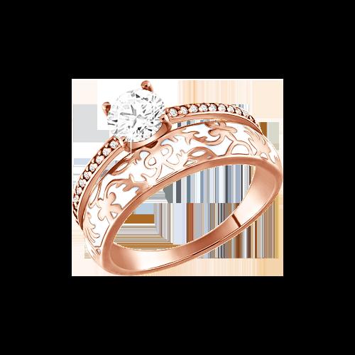 Vergoldete Damen-ring aus 925er Silber mit Zirkonia, Emaille