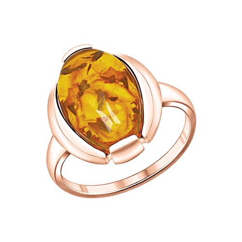 Vergoldete Damen-ring aus 925er Silber mit Bernstein