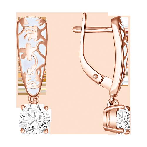 Ohrringe aus Silber 925° Rotgold vergoldet mit Zirkonia, Emaille