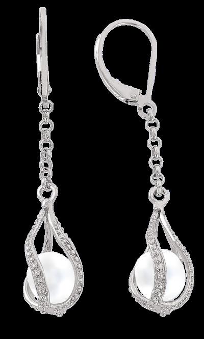 Ohrhänger aus 925er Sterling Silber mit Perlen, Zirkonia