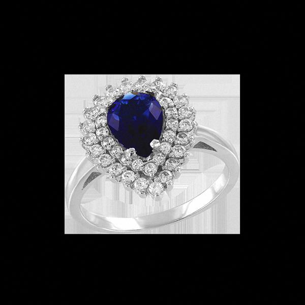 Damen-ring aus 925er Sterling Silber mit Zirkonia, Saphir HTS