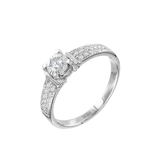 Lady´s ring in white gold of 585 assay value (14K) with diamonds